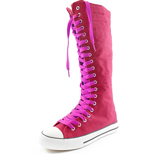 Dailyshoes Toile Femme Mi-mollet Bottes Hautes Casual Sneaker Punk Plat, Cool Magenta Fuchsia Bottes, Cool Magenta Dentelle