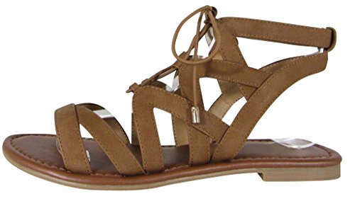 Ghillie Tie - Cambridge Select Women's Crisscross Ankle Strappy Lace-Up Tie Cutout Flat Ghillie Sandal (8.5 B(M) US, Tan NBPU)