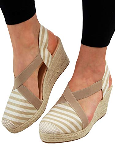 (FISACE Womens Cap Toe Elastic Band Criss Cross Platform Wedge Sandal Slingback Strappy Espadrilles Shoes)