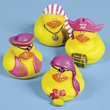 Fun Express One Dozen (12) Girl Pirate Rubber Duck Party Favors [Toy] -