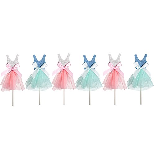 [Qteland Fairy Dress Cupcake Toppers 6PCS Decorations for Baby Showers Picnic Themed wedding Birthday Party Favors for] (Halloween Cupcake Ideas Kids Decorate)