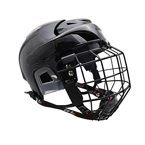 GY 2018 New Upgrade Hockey Helmet Combo Soft no Chucking Filed Hockey Helmet Player Helmet with cage Combo (Black, L) - In Line Hockey Helmets