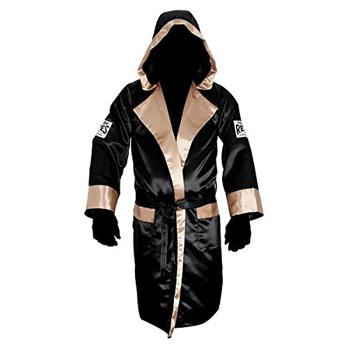 Cleto Reyes Satin Boxing Robe Hood - Large - Black/Gold