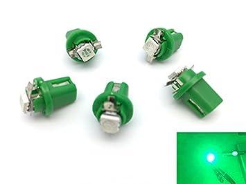 TMT LEDS(TM) 5 X BOMBILLAS LED B8.5D 1 LED SMD 5050 VERDE SALPICADERO: Amazon.es: Coche y moto