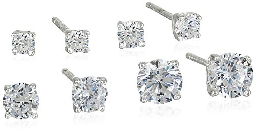 Sterling Silver AAA Cubic Zirconia Round Earrings Four Pair Set
