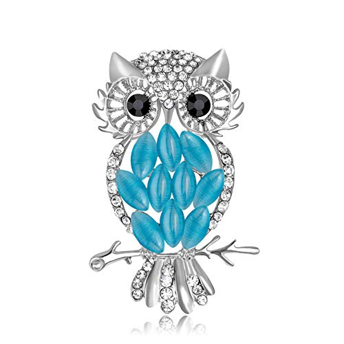 AILUOR Cute Black Eyed Owl Brooch Pin, Elegant Vintage Rhinestone Crystal Pearls Enamel Gold Animal Lapel Pin Corsage for Women Girl (Light Blue) for $<!--$11.99-->