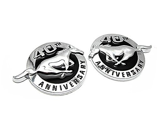 BENZEE Silver 40th ANNIVERSARY Horse Emblem Sticker Decal For Mustang 2pcs (Ford Mustang 40th Anniversary)