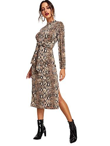 Floerns Women's Snakeskin Print Long Sleeve Tie Waist Midi Dress