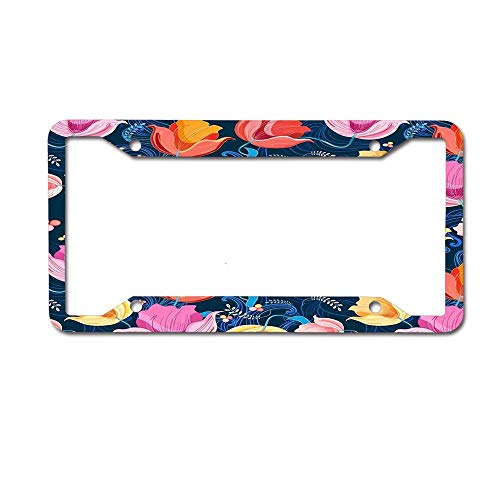 (ASLGlicenseplateframeFG Pattern of Flowers Tulips Personalized License Plate -Auto Car Tag 4 Holes - Metal Front of Car License Plate Frame(12X6))
