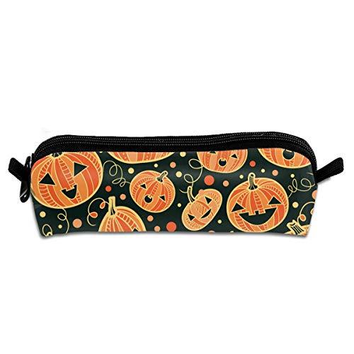 Universal Zipper Big Capacity Pen Bag Pouch for Artist Drawing Painting Kids - Carrying Case Halloween Pumpkin Patterns Stationery Organizer Makeup Bag ()