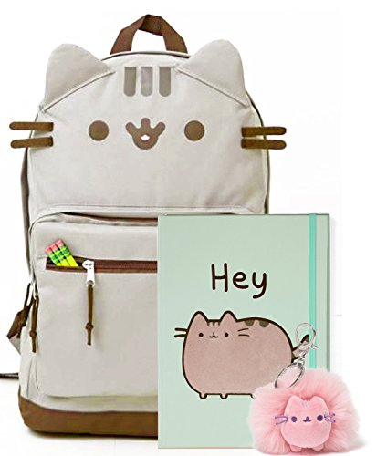 Pusheen The Cat Back To School Set - Pusheen Cat Face Backpack, Pusheen Hey Notebook And Pusheen Poof Keychain - Gift For Student
