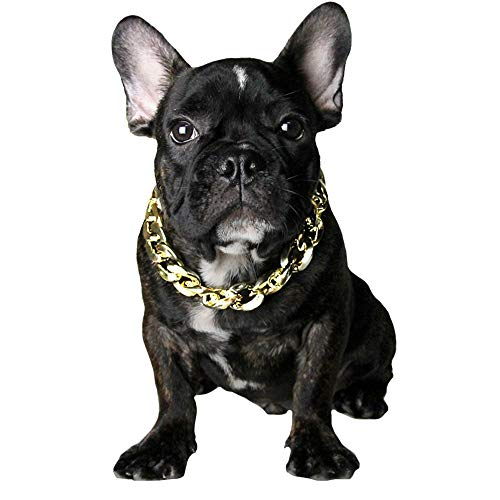 """FLAdorepet Cuban Curb Gold Dog Chain for French Bulldog Pet Cat Dog Necklace for Small Large Dog (M(Length: 14.1""""), -"""