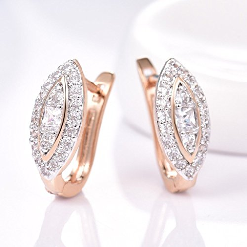 - Phetmanee Shop Womens Brilliant 18k Gold Platinum Filled Charms Bridal Statement Hoop Earrings