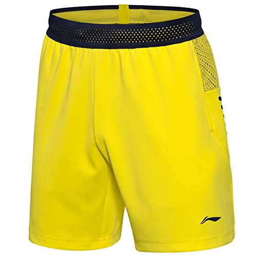 LI-NING National Team Men Badminton Shorts Quick Dry Breathable Soft Sport Shorts Yellow AAPN155 XXL