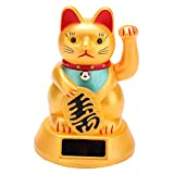 Lucky Cat Solar Powered Welcoming Waving Beckoning Mog Car Decoration Fortune Pussy Home Stores Car Interior Decor Gold