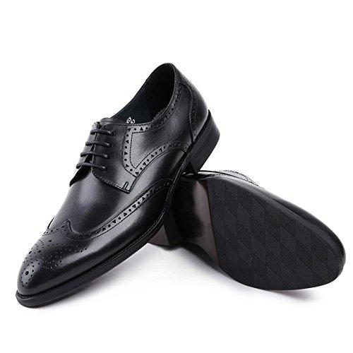 Hombres Casual Cuero Zapatos Encajes Vestir Boda Formal Negocio Negro Toro castrado Oxford para Hombres Trabajo tamaño 38-44 black
