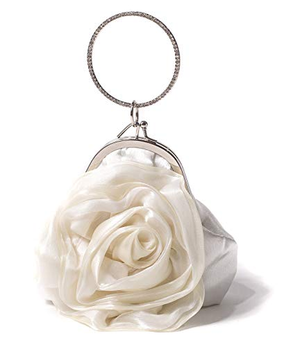 (ILISHOP Women's Satin Rosette Bridal Bridesmaid Clutch Flower Wristlet Wedding Handbag Rhinestone Ring Handle Evening Bag (White))