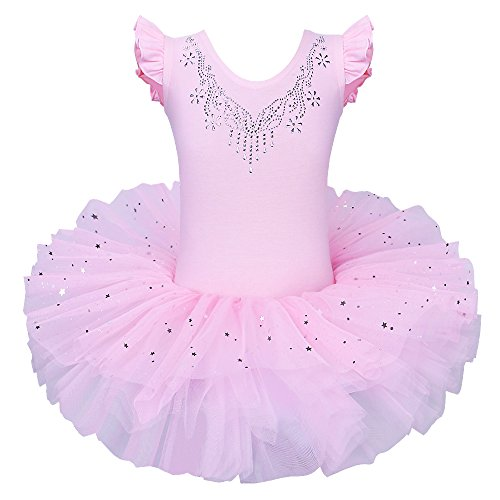 BAOHULU Ballet Leotards for Girls Full Skirted Dance Tutu Dress Party Costumes B184_Pink_L -
