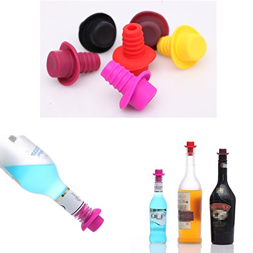 Foam Cowboy Hat Pink (Novelty Wine Bottle Stopper - Silicone, Perfect Gift for Wine Lover - Five color (Red/Black/Pink/Yellow/Purple) 5-Pack)