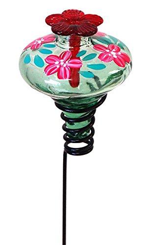 Parasol Green Mini-Blossom Botanica Staked Hummingbird Feeder, 4 oz. (Staked Hummingbird Feeder)