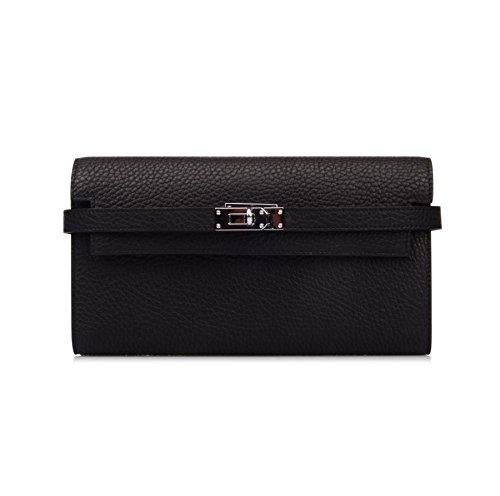 Anifeel Women's Genuine Leather Wallet Purse Card Holder Billholder (Black) by Ainifeel