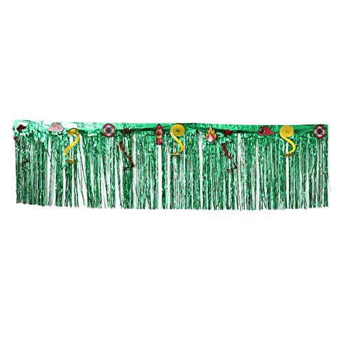 (Hawaiian Party Fringed Table Skirt Thickened Table Grass Skirt Celebration Tabletop Curtain Summer Beach Parties Decoration (Green,)