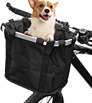 ZIMFANQI Bike Basket Quick Release Bicycle Basket Small Pet Dog Cat Carrier Detachable Bicycle Handlebar Baske