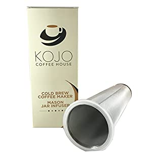 Cold Brew Coffee Maker By Kojo Coffee House - Mason Jar Infuser For Hot And Cold Beverages, Iced Tea, Flavor Infused Water, Easy To Use, Dishwasher Safe, Chemical Free
