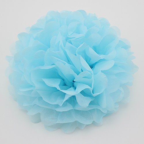 Since10 Pack 10 Inch Tissue Paper Flowers,Tissue Pom Poms Decor,Tissue Paper Pom Poms,Christmas Wedding Party Decor,Baby Shower Party Supplies,Tissue Paper Flowers Kit,Pom Poms Craft(Light ()