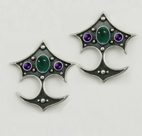 Gothic Earrings With Fluorite and Rainbow Moonstone in Sterling Silver Made in America
