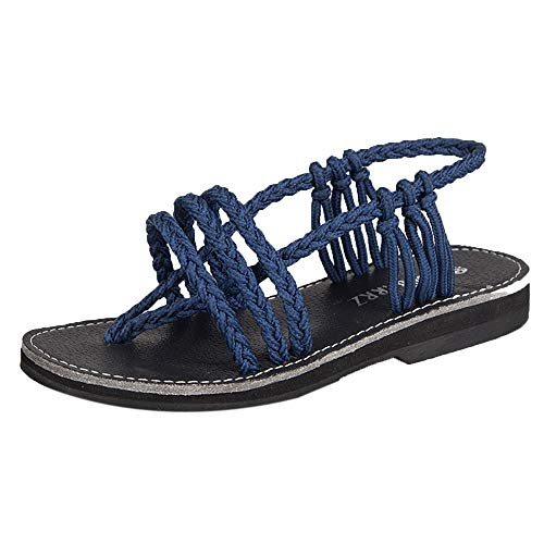 Sherostore ♡ Flat Sandals for Women Braided Strap Beach Shoes Palm Leaf Waterpoof Braided Summer Anti-Slip Sandals Blue