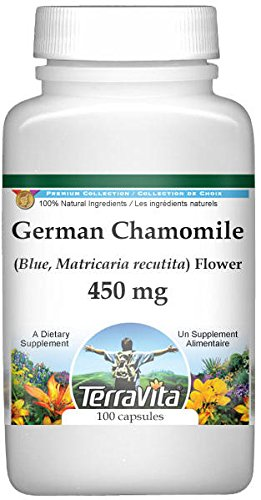 German Chamomile (Blue, Matricaria recutita) Flower - 450 mg (100 Capsules, ZIN: 516213) - 2 Pack