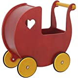 Moover Wooden Dolls Pram - Red