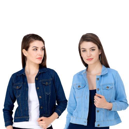 MONTREZ Full Sleeve Solid Women Denim Jacket  Pack Of 2