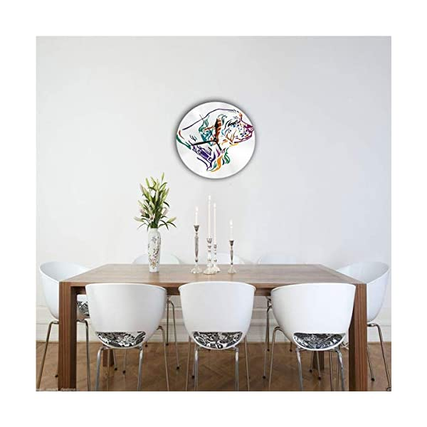 Yxungdiy Modern Decorative Round Wall Clock Colorful Outline Portrait Dog Clumber Spaniel Battery Operated 9.8IN 2