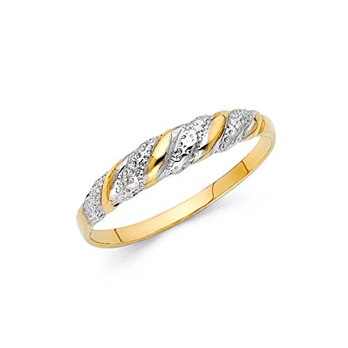 Two Tone Paradise Jewelers 14K Solid Yellow Gold Engraved Braided Design Ring, Size 5
