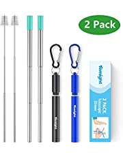 Tomight 2 Pack Telescopic Reusable Straws, Portable Stainless Steel Metal Straws with Case Cleaning Brush Carabiner Silicone Tips Keychain, Perfect for Travel, Home,Office Black/Blue