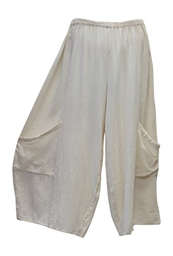 Oh My Gauze Women's Lee Pant Wide Leg Cotton Crop Pant One Size (Bone) (Leg Pant Gauze)