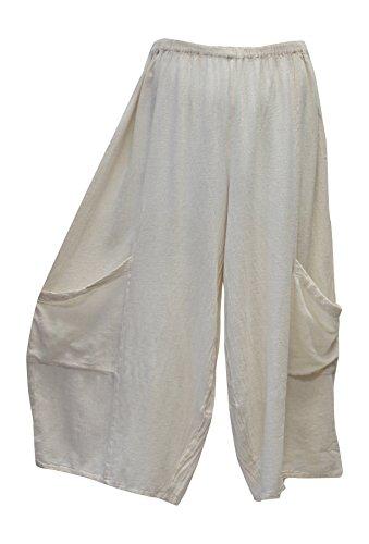 Oh My Gauze Women's Lee Pant Wide Leg Cotton Crop Pant One Size (Bone) (Gauze Leg Pant)