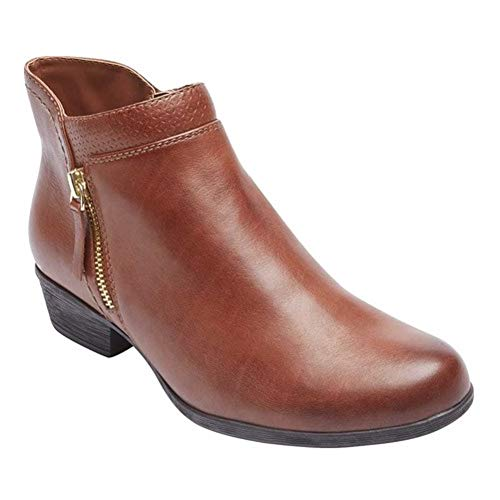 Rockport Women's Carly Bootie Ankle Boot, tan Leather, 8.5 M US (Rockport Boot Women)