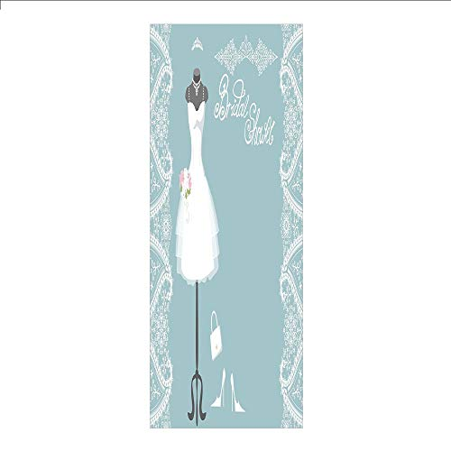 3D Decorative Film Privacy Window Film No Glue,Bridal Shower Decorations,Vintage French Inspired Bride Dress with Floral Frames,Baby Blue and White,for Home&Office (Blue Tiffany Dresses Dog)