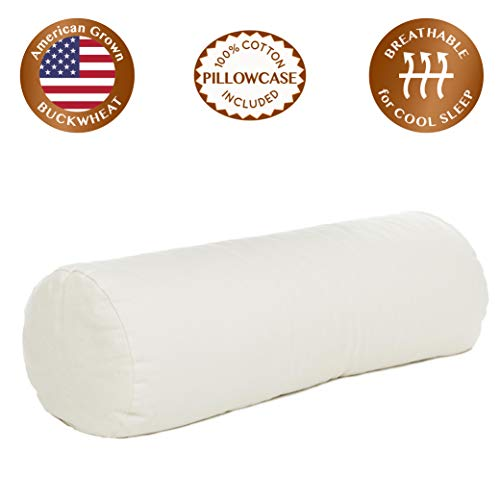 "ComfyComfy Round Buckwheat Hull Pillow for Side Sleeper Neck Support, Extra Large Size (23"" x 7.5""), Breathable for Cool Sleep, USA Grown Buckwheat and Durable Cotton Twill, with Custom Pillowcase"