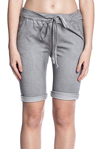 Abbino 5079 Pantalones Cortos para Mujer - Hecho en ITALIA - 5 Colores - Entretiempo Primavera Verano Otoño Casual Fashion Elegantes Fiesta Rebajas Estilo Clásico Short Algodón Gris