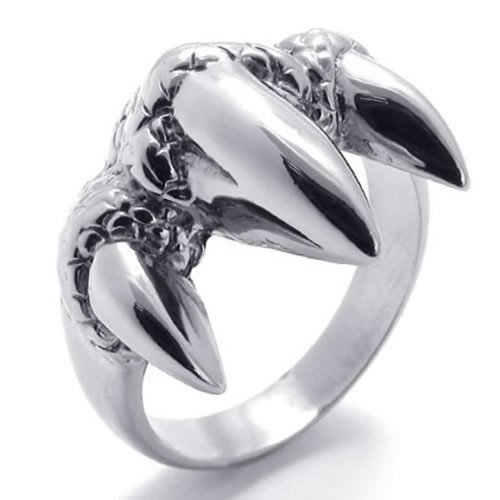 - KONOV Polished Stainless Steel Gothic Dragon Claw Biker Men's Ring, Size 13