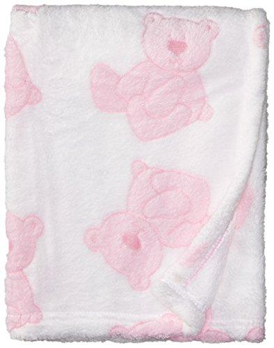 Stephan Baby Pot-Bellied Bear Ultra Soft Plush Fleece Blanket, (Pink Bear Blanket)