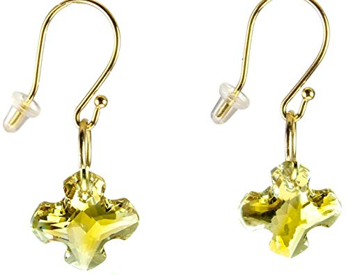 Handmade Earrings Swarovski Crystal Gold Greek Cross and Gold Plated Ear Wires Religious Christian Gift ()
