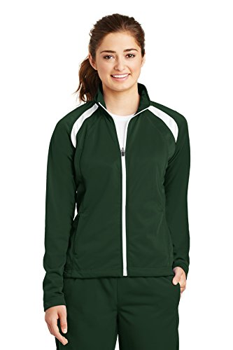 Sport-Tek Women's Long-Sleeve Full Zip Polyester Athletic Running Tricot Track Jacket,Large,Forest Green/White by Sport-Tek