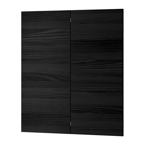 Ikea 2-p door/corner base cabinet set, wood effect black 13x30 - Cabinet Ikea Corner