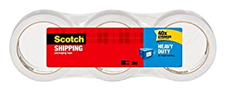 "Scotch Packing Tape Heavy Duty Shipping Tape, 1.88"" x 50m, 3 Rolls (B007XZX6TM) 