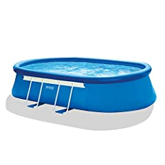 Intex Oval frame pool set has a combination of the easy assembly of an easy set pool & the strength & support of a metal frame pool. This long, oval-shaped pool fits long, narrow backyards, that cannot accommodate large round pools, &...